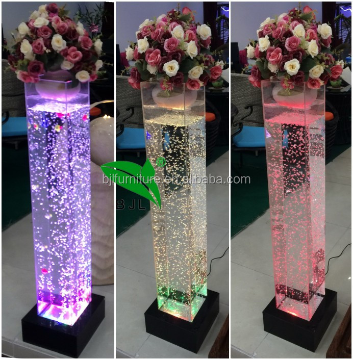 White wedding decoration water bubble pillars led lighted - Led a pile pour deco ...