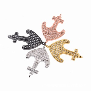 DIY Jewelry Accessories 4 Colors Available Pave Clear CZ Anchor Charm Connector Fit Bracelet Making