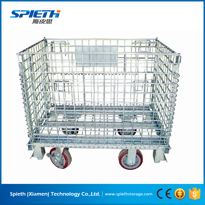 Large metal steel wire mesh storage pallet cage