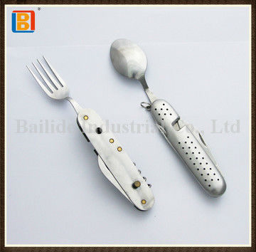 2017 Latest Picnic Stainless Steel Pocket Cutlery With Coffiee Spoon