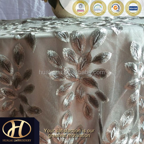 LEAF EMBROIDERY FABRIC TABLE COVER MADE IN CHINA