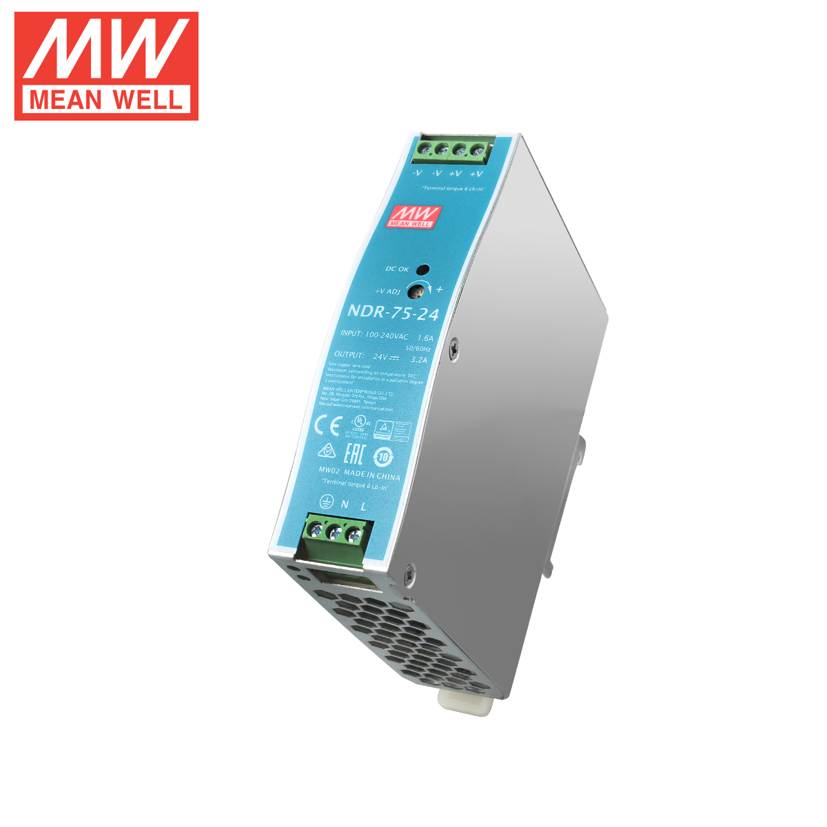 75W 24V Mean Well Power Supply NDR-75-24 meanwell 3.2A 75.W Single Output Industrial DIN Rail Switching Power Supply
