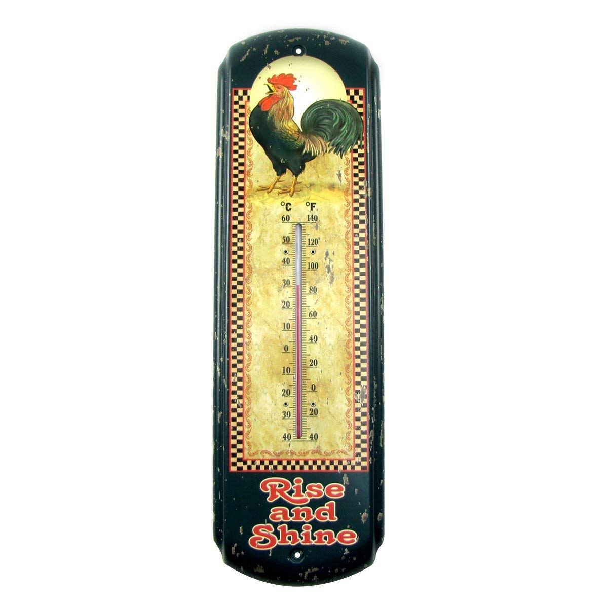Rise & Shine Rooster Indoor/Outdoor Thermometer Chicken Farm Patio Garden Decor