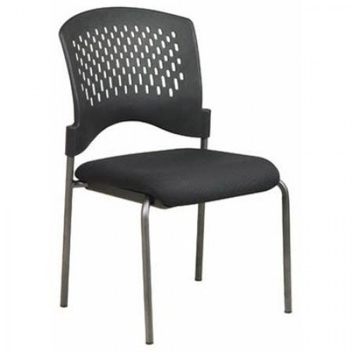 Get Quotations · Pro Line II Ventilated Plastic Wrap Around Back Armless  Visitors Chair Titanium Finish