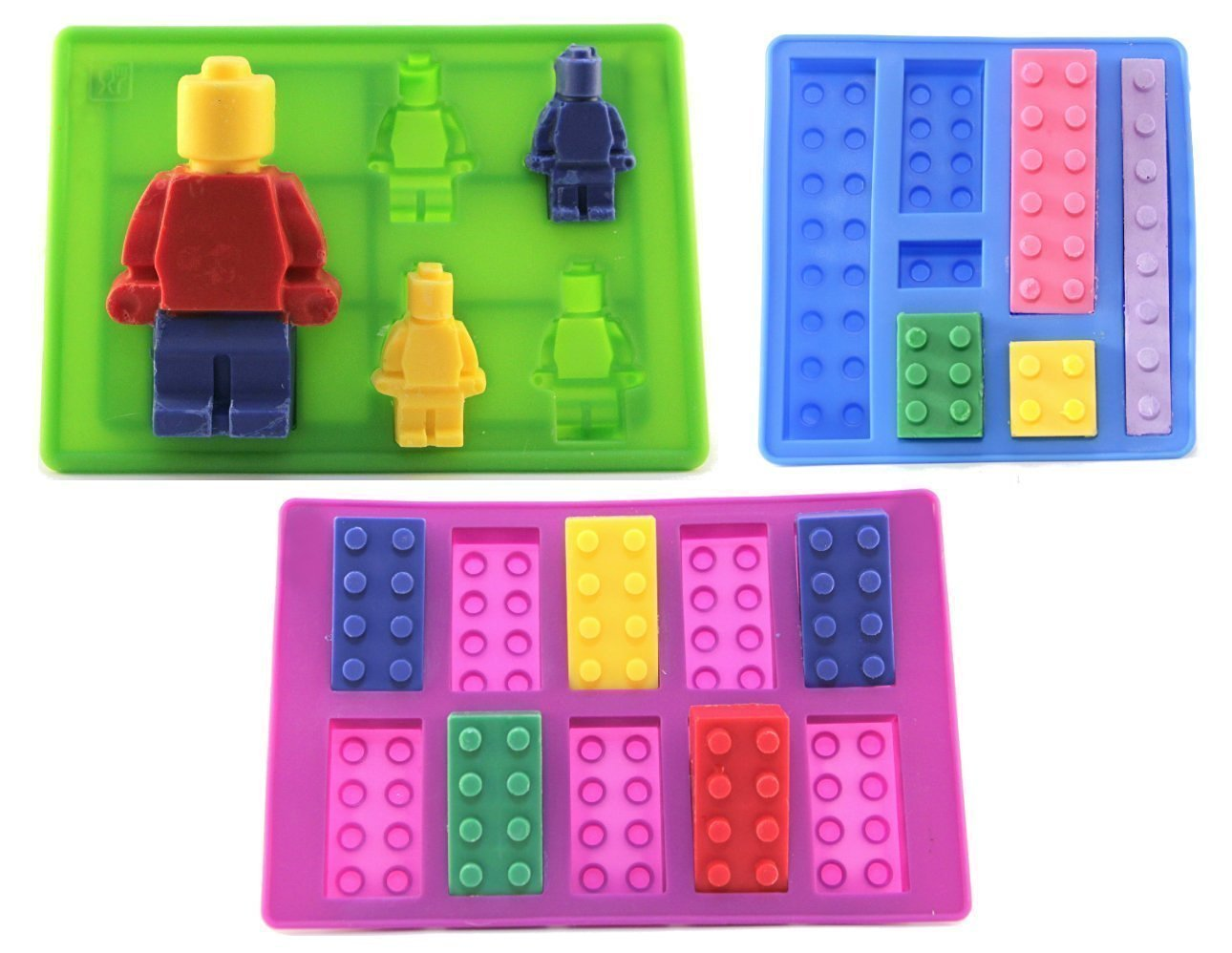 Building Blocks & Minifigure Candy Molds | Perfect for LEGO Themed Birthday Party for Candy Melts, Cupcake Toppers, Ice Cube Trays and Gummies | Figures and Building Blocks for LEGO and LEGO Friends