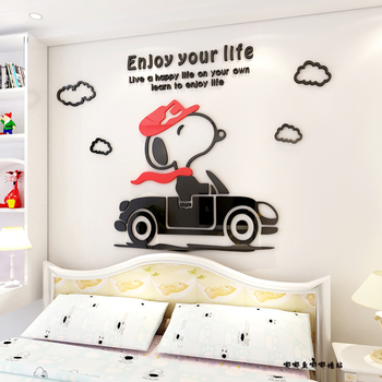 cartoon lovely snoopy 3d wall stickers 3d acrylic children bedroom