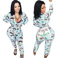 Wholesale Sexy Women Long Sleeve Christmas Zipper Jumpsuit Onesie Pajamas Funny Letter Club