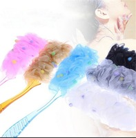 Popular Cheap Shower Puff Body Wash Soft Mesh Sponge with Plastic Handle