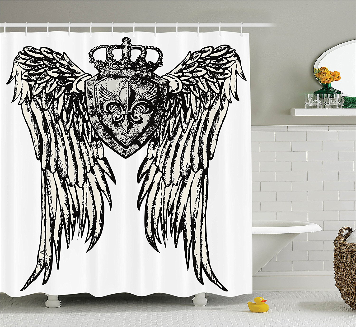 Ambesonne Fleur De Lis Decor Collection, Tribal Tattoo Design with Wings Aged Arms Badge Crest Crown Eagle, Polyester Fabric Bathroom Shower Curtain, 84 Inches Extra Long, Black and White