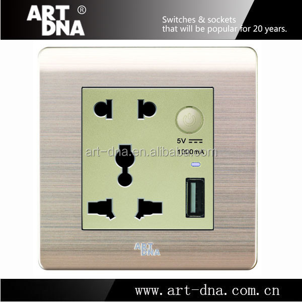 China Manufacturer 16A Usb Socket wall EU type 2 pin & 3 pin universal wall receptacle with usb port