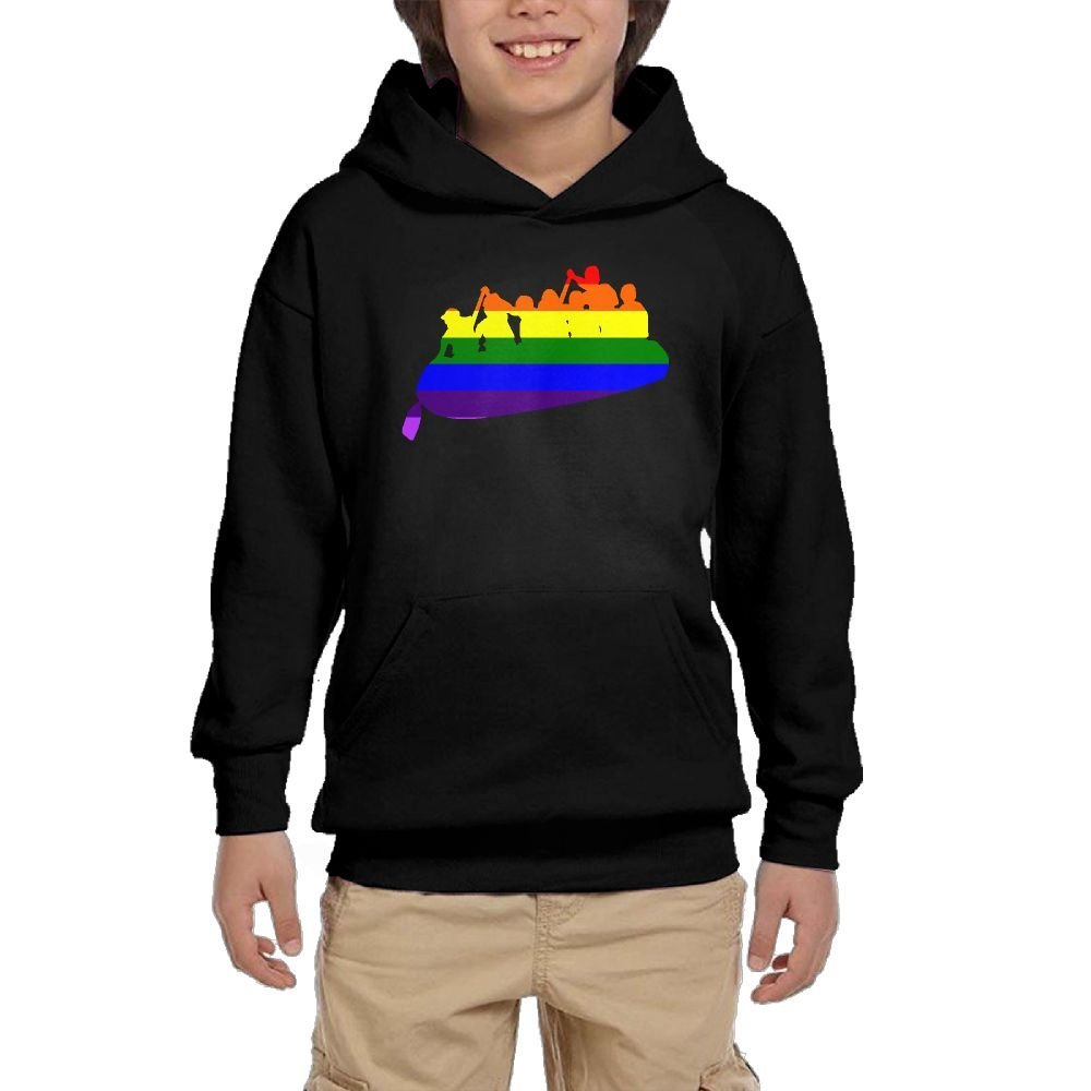 Rowing Rainbow Youth Casual With Pocket Hoodies Hot Tops Pullover Sweatshirts