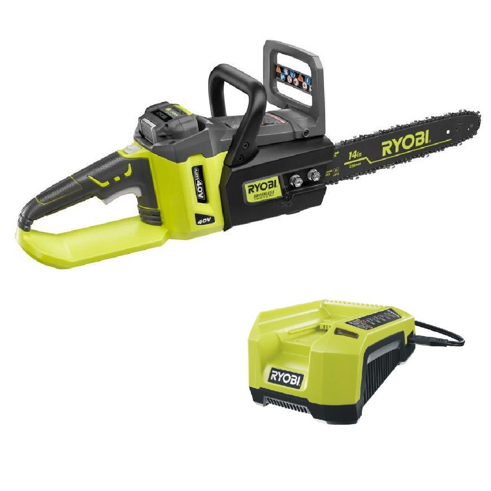 Get Quotations Ryobi Ry40511 40v Cordless Brushless Lithium Ion 14 In Chainsaw