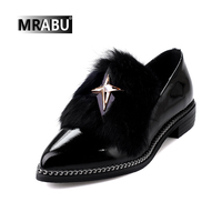 black slip on plush metal chain decoration stylish women large size shoes size 42 43 patent leather casual lady star shoes