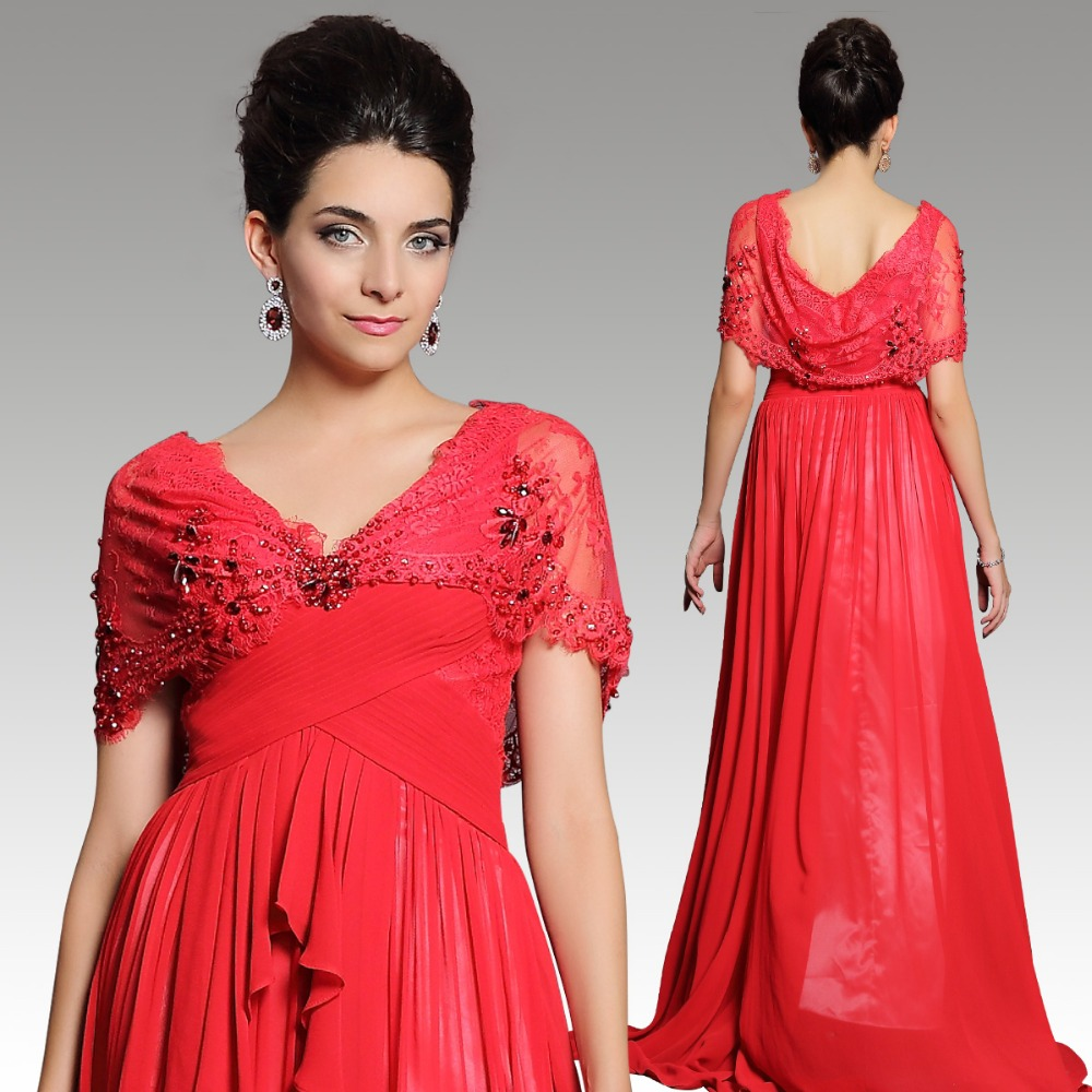 Klasik mode deep v-neck maxi dress gaun pengantin merah