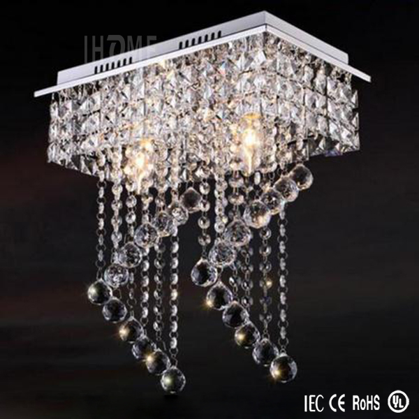 Fashoin Modern Double Stair Spiral Living Room Crystal Raindrop Lighting Square Led Chandelier