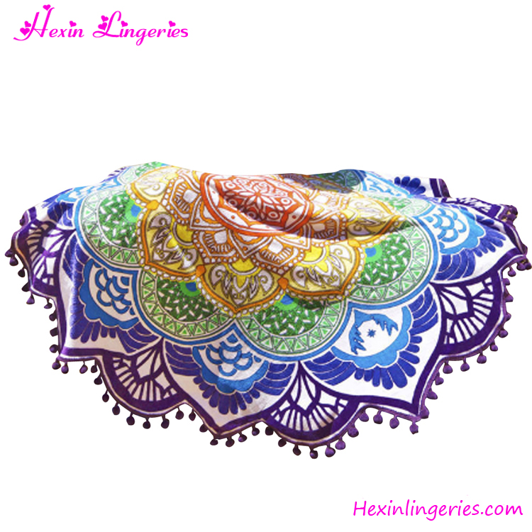 Best Sale Wholesale Lotus Printed Boho Round Mandala Beach Blanket