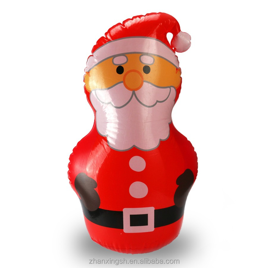 Plastic inflatable santa claus tumbler toy for Christmas promotional