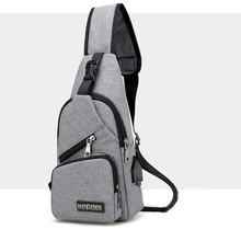 ac79d4539 Grey canvas crossbody laptop sling chest pack sport fashion bag for men  shoulder bag with phone