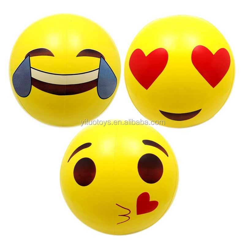 "Hot sale 12""&18"" yellow color emoji beach <strong>balls</strong> with 6 different model good for pool party and game inflatable <strong>balls</strong> for kids"