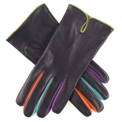 Black Leather Gloves with Multicolour Detail colored leather gloves for lady