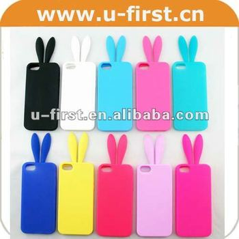wholesale dealer 3ee50 1a1a4 New Cute Rabbit Ears Tail Silicone Soft Cell-phone Case Skins For Iphone 5  - Buy Rabbit Cover For Iphone 5,Rabbit Case For Iphone 5,Rabbit Ears Tail  ...