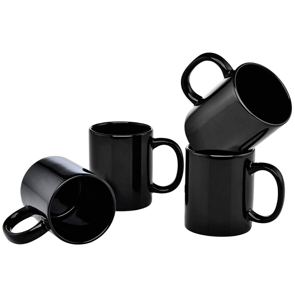11-Ounce Ceramic Mug, <strong>Black</strong>, Set of 4