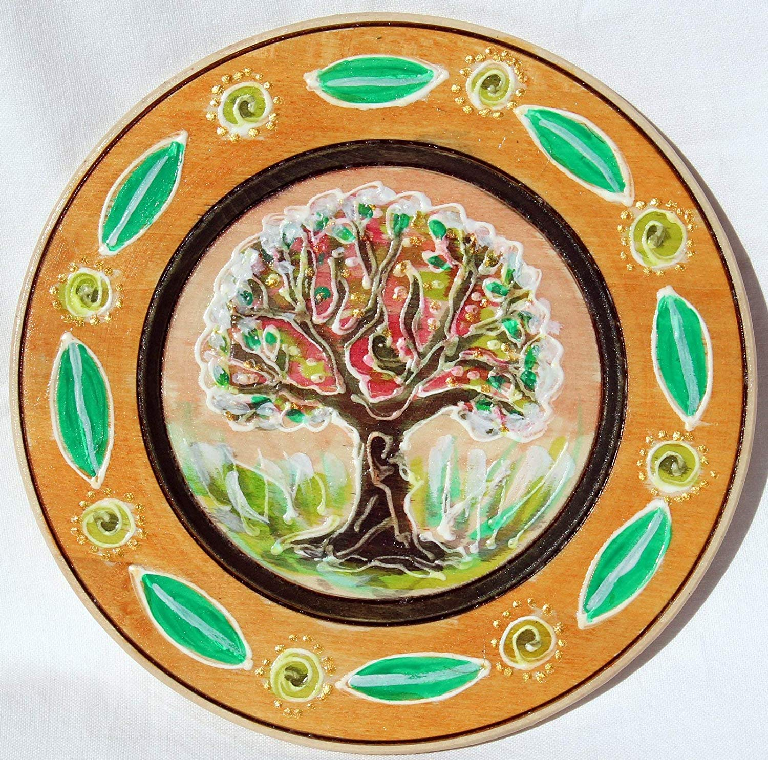 Sale!!!10% Off,Tree of Desires,Christmax gift Mom,Hand Painted Tree on Wooden Plates,Custom Tree Plates,Tree of Life Wooden,Painted Collectible,Plate Decorative,Plate Painted,Wall Plate.
