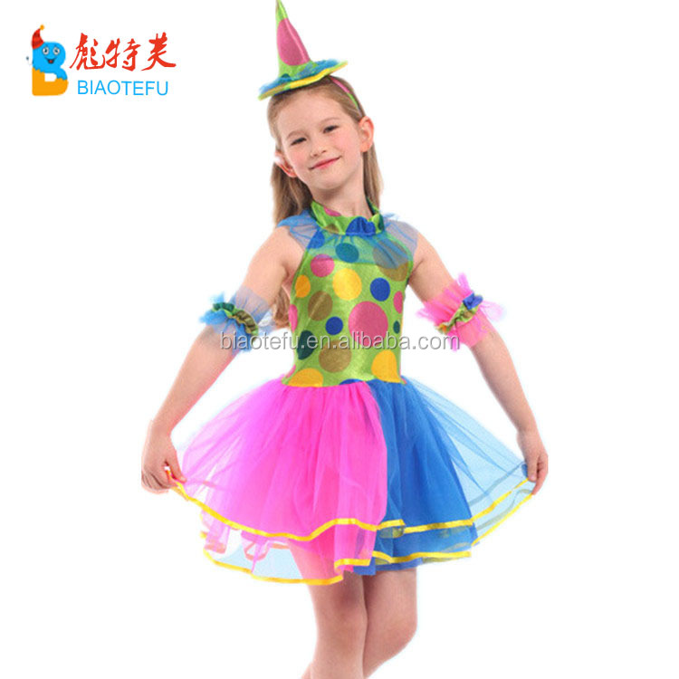 halloween carnival children girl clown costumes party funny cosplay girl clown fancy dress costumes in stock
