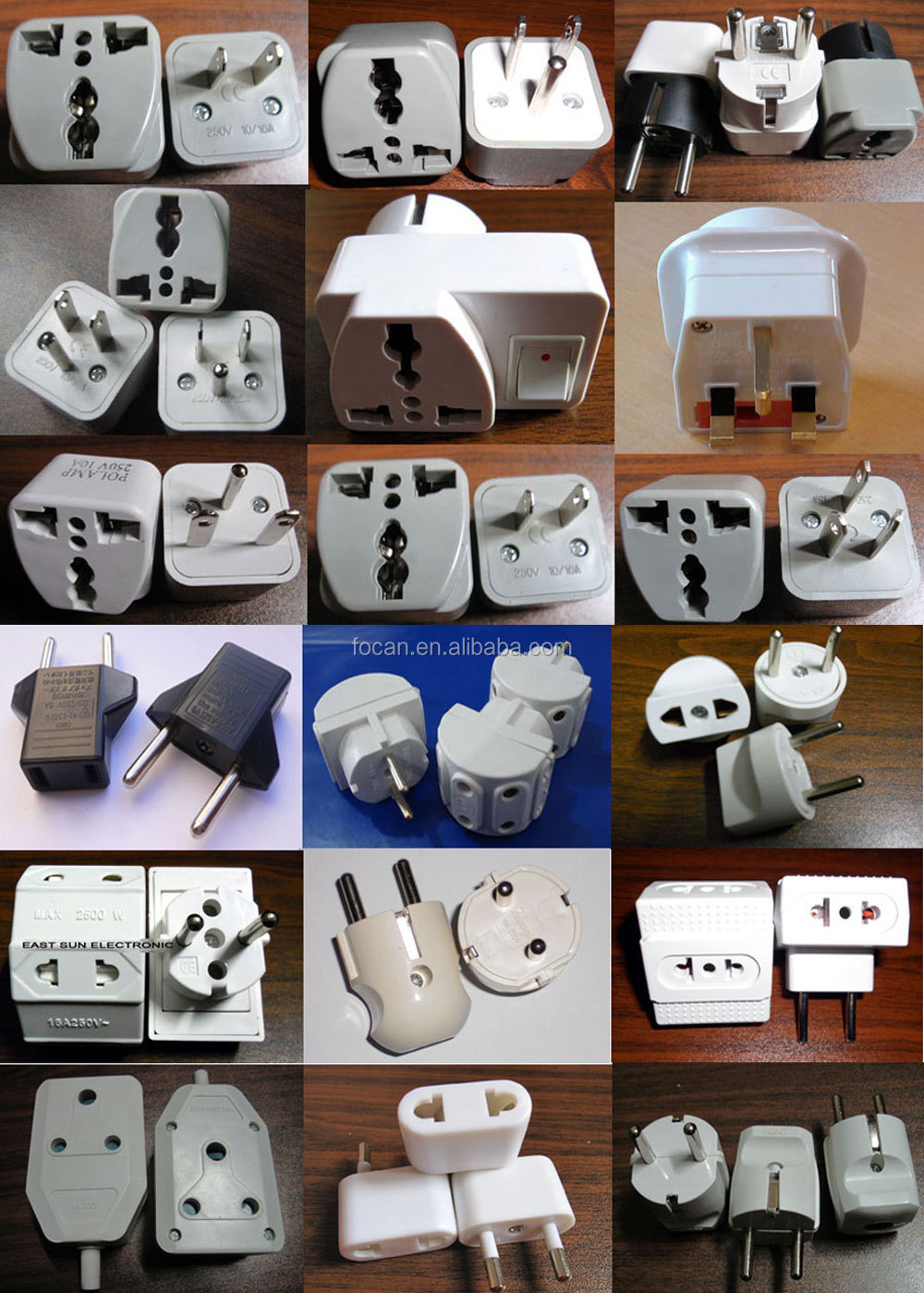 5V 2.1A  Universal to India south africa Travel Adapter plug with Dual USB ports