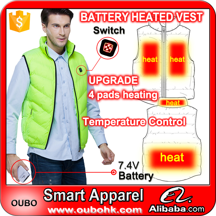 Unisex Battery Heated Jacket Green Thick Waistcoat Winter Autumn Quilted Vest Down Vest Long-lasting Warm 4 Pads Heating OUBOHK