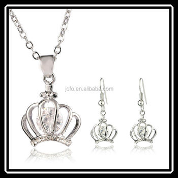Princess Design Hollow Silver Crown Necklace And Earrings Jewelry