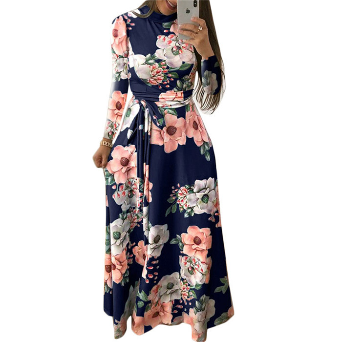 Womens Leisure Casual Floral Prints <strong>Faux</strong> <strong>Wrap</strong> Long Dress with Belt High Neck Long Sleeve Chiffon Dress