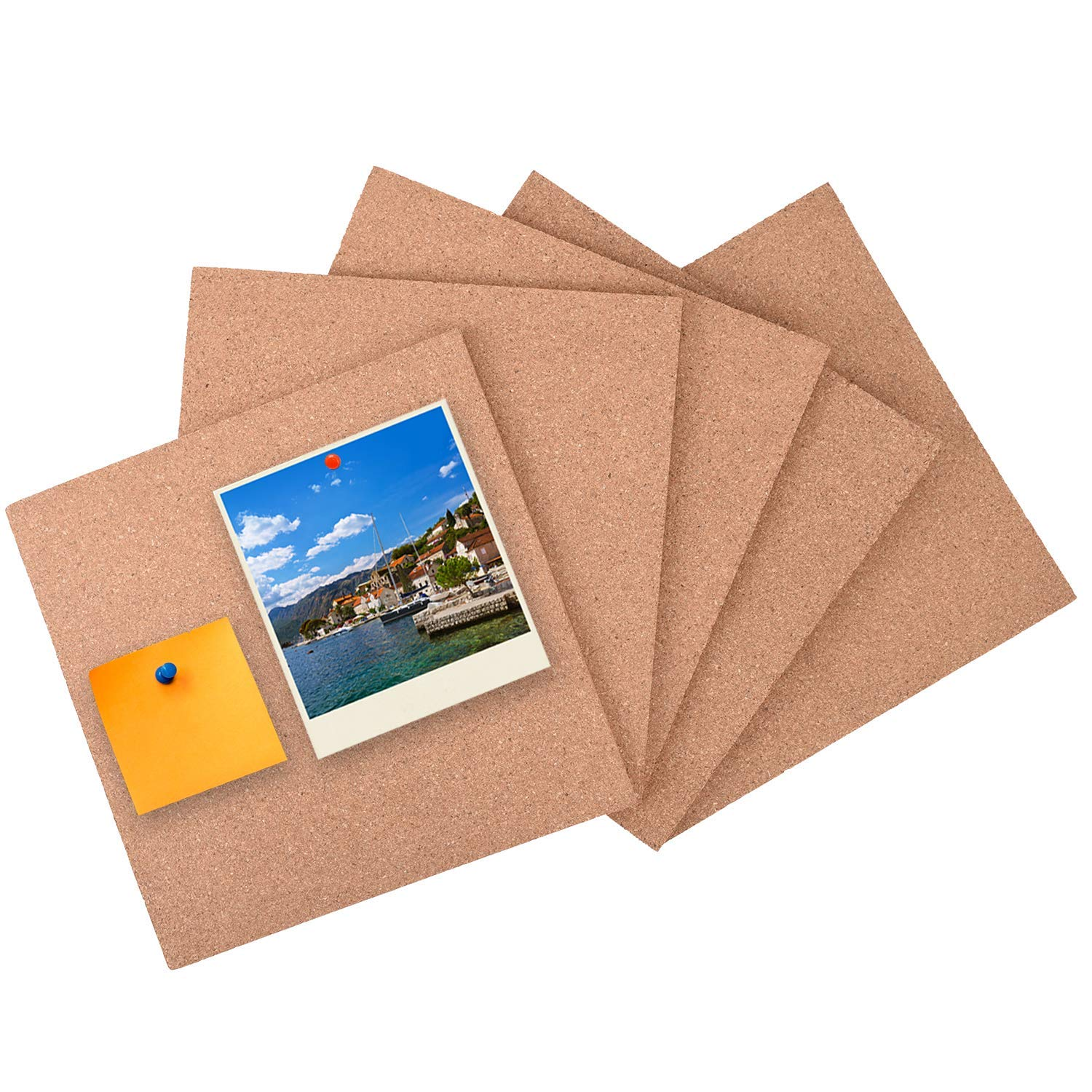 """5 Pack Square Cork Board Tiles with Adhesive 12 x 12""""- Buytra Mini Wall Bulletin Boards, Pin Board Decoration for Photos, Pictures, Sticky Notes, Drawing"""