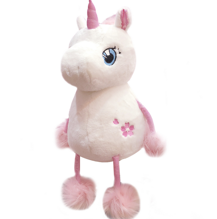 Soft sakura unicorn stuffed plush toys pink horn with big hair ball