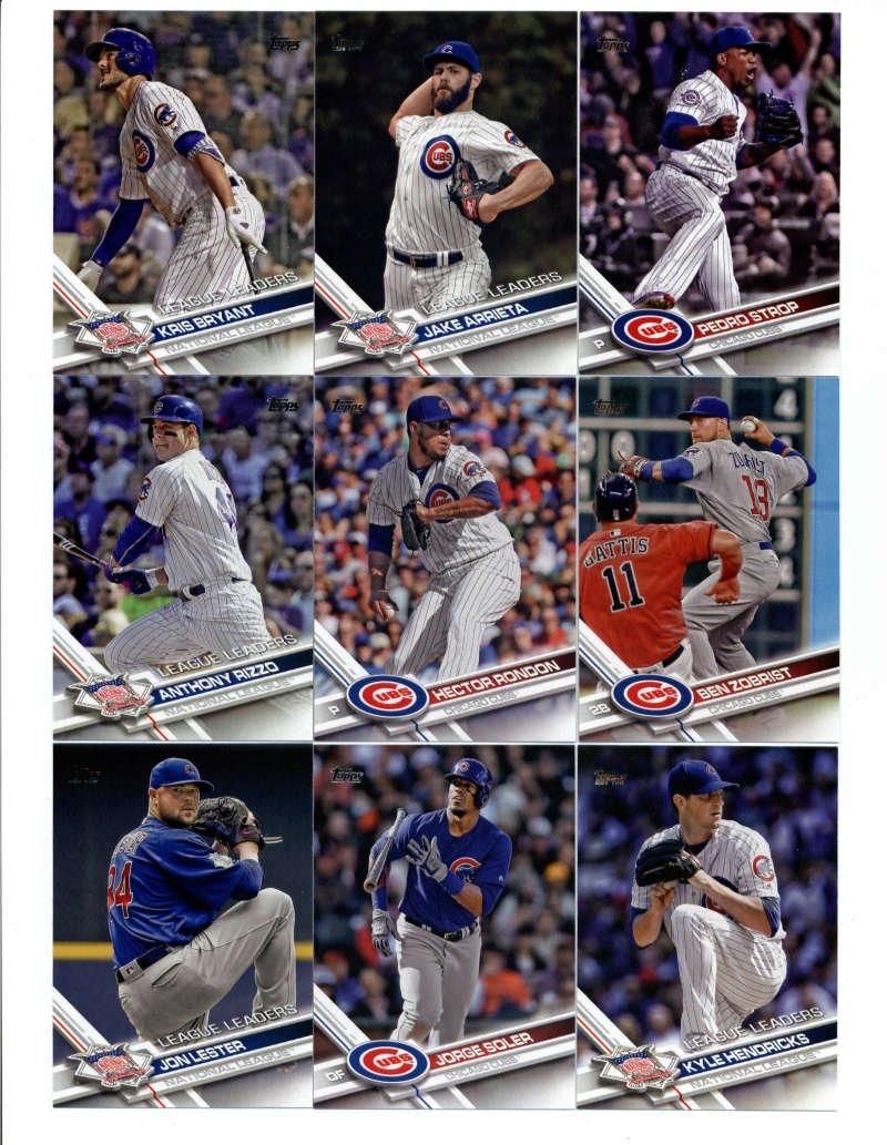 2017 Topps Chicago Cubs Complete Master Team Set of 41 Cards (Series 1, 2, Update): Kris Bryant(#1), Jason Hammel(#2), Jake Arrieta(#18), Aroldis Chapman(#39), Chicago Cubs(#72), Kyle Schwarber(#73), Addison Russell(#78), Kyle Hendricks(#113), Jon Lester(#144), Jon Lester(#162), Jorge Soler(#166),