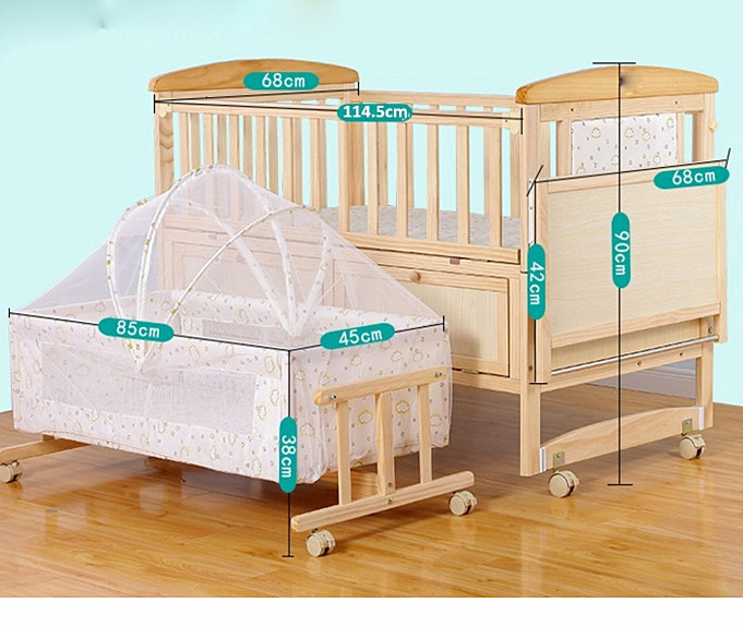High quality baby wooden crib/ natural color portable bed side crib with multifunctions