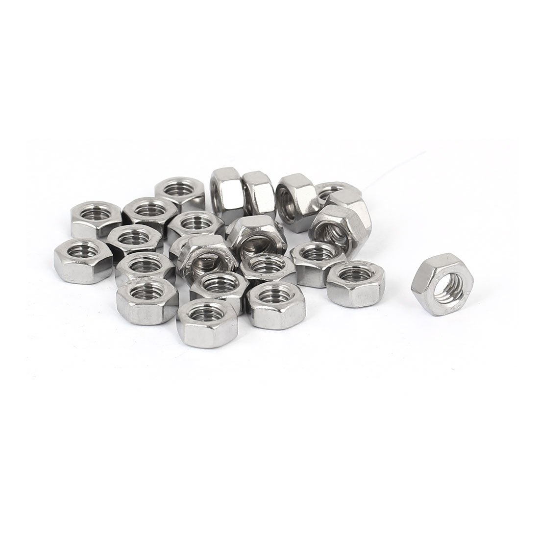 uxcell M5 Thread Diameter 304 Stainless Steel Hex Thin Nut Screw Cap Fastener 25pcs