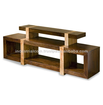 Wooden tv stand media block shelf buy drawing shelf for Block tv stand