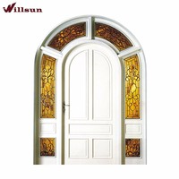 French villa garden style house main front arched doors with sidelights white color mosaic craft glass solid plywood panel doors