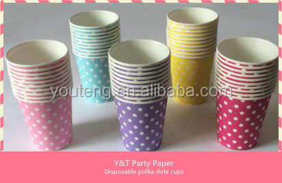 Wholesale single wall striped paper cups Hot Sale disposable colorful Paper Party Dots Cups