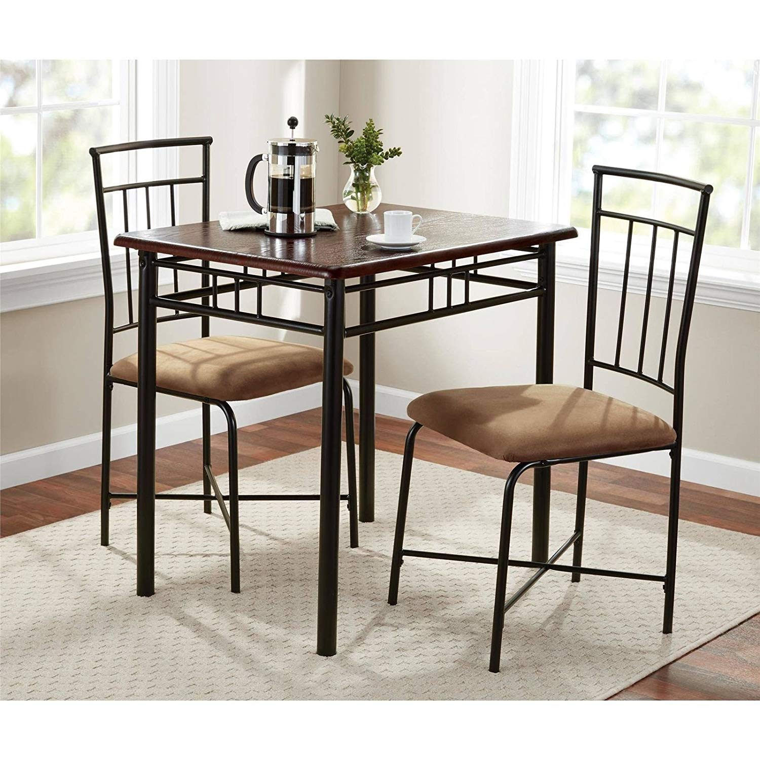 Get quotations · walnut 3 piece dining table set bistro metal chairs breakfast small kitchen furniture
