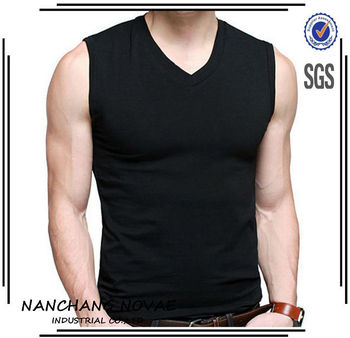 8916ce1435d Mens Cotton T-Shirts V-Neck Sleeveless Summer Fashion Male Muscle Tank  Shirts Top