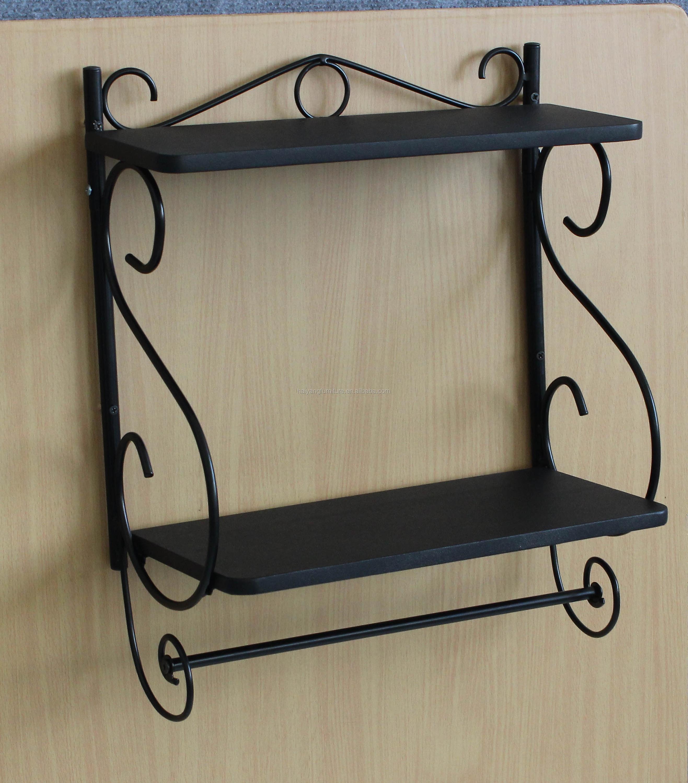Metal Negro Bastidores Diseño Antiguo Del Metal Pared Estante Placa ...