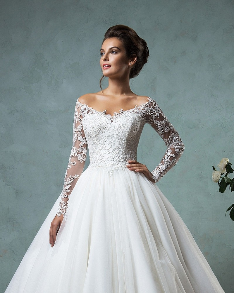 New Lace Long Sleeve Wedding Dress 2016 Vintage Tulle Off