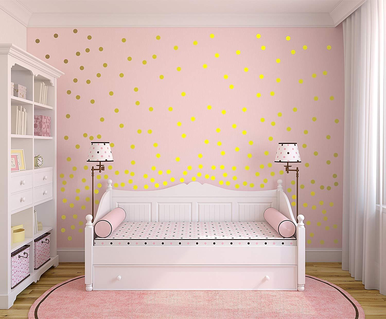 """Metallic Gold Wall Decals Polka Dot Wall Sticker Decor - 1"""" Inch, 1.5"""",2"""",2.5"""",3"""", 3.5"""", 4"""" Inches Polka Dot Wall Decal"""