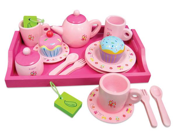 Happy Birthday Cake Pink Dreamlike Girls Play Wooden Tea