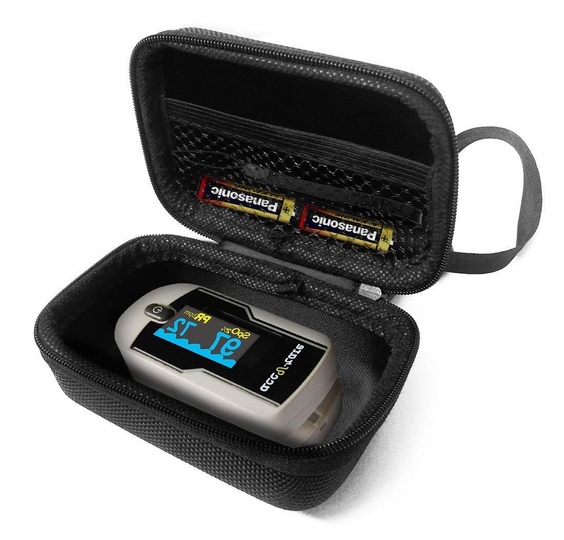 FitSand(TM) Carry Zipper Travel Protective Portable EVA Hard Case Cover Bag Box for Acc U Rate Premium Fingertip Pulse Oximeter Blood Oxygen Saturation Monitor