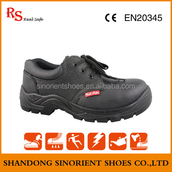 5 dollars cheap leather safety shoes with steel toe and steel plate Dewalt safety shoes Oil slip resistant Hard work shoe RS126