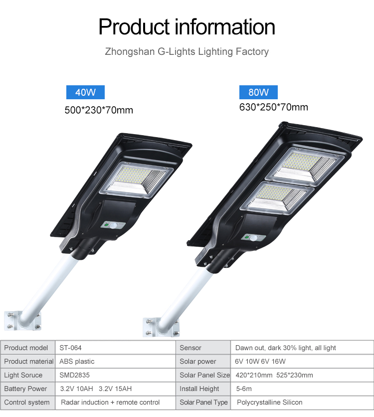 Energy saving ABS all in one 40w 80w integrated solar led streetlight