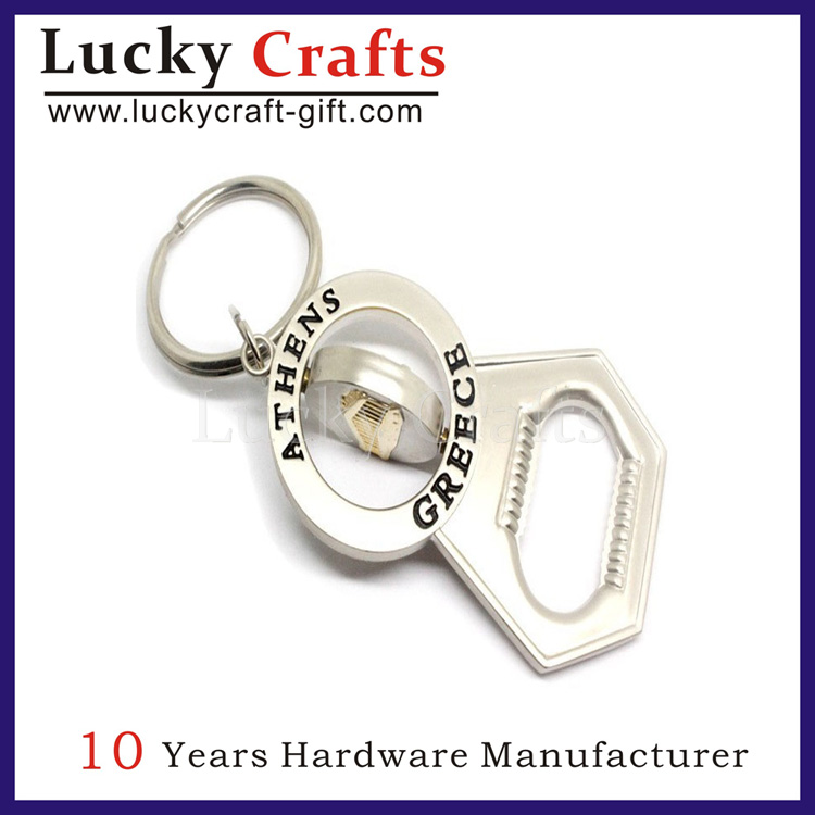 High Quality Engraved Bottle Opener Keychain With Ring